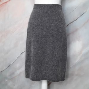 MADELEINE Wool Angora Rabbit Fur Pencil Skirt